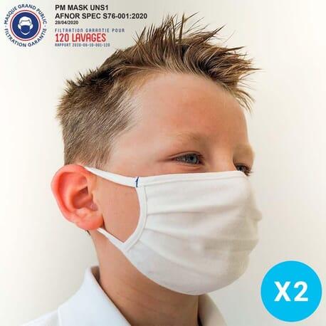 Masque Tissu Lavable Enfant 6 -14 ans - Lot de 2